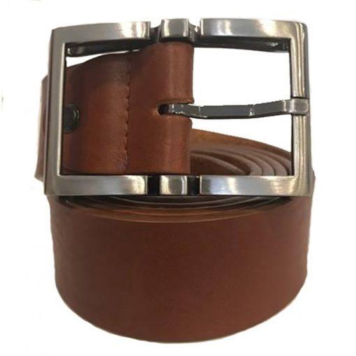 Cintura Uomo Donna Pelle Cuoio Toro Larghezza 3,5 cm Marrone Chiaro