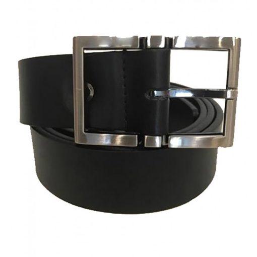 Cintura Uomo Donna Pelle Cuoio Toro Larghezza 3,5 cm Nero