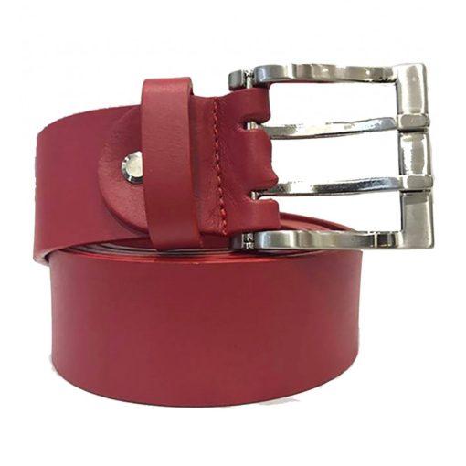 Cintura Uomo Donna Pelle Cuoio Toro Larghezza 4 cm Rosso