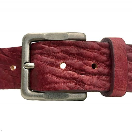 Cintura Pelle Cuoio Toro Vintage Bordeaux Uomo Donna Fronte 2 Made In Italy Artigianato Italiano