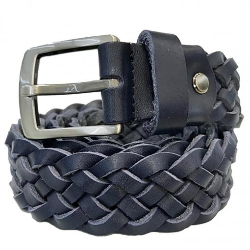 Cintura in Pelle Intrecciata Colore Blu