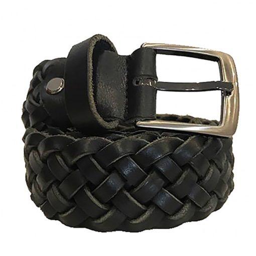 Cintura in Pelle Intrecciata Colore Nero