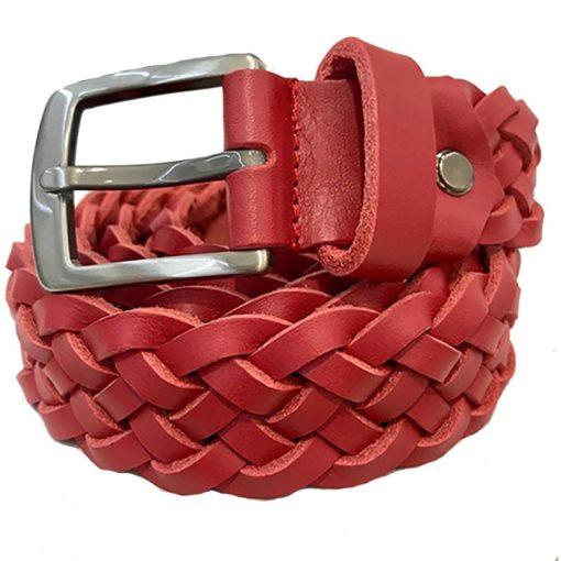 Cintura in Pelle Intrecciata Colore Rosso