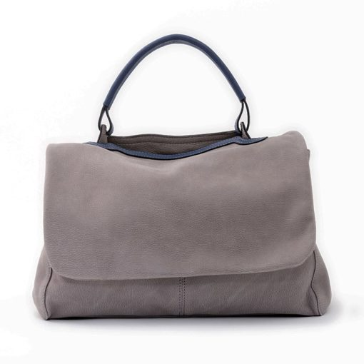 Esse Media Borsa Artigianale Donna Pelle Soft Colore Zinco Elba Made Italy Fronte