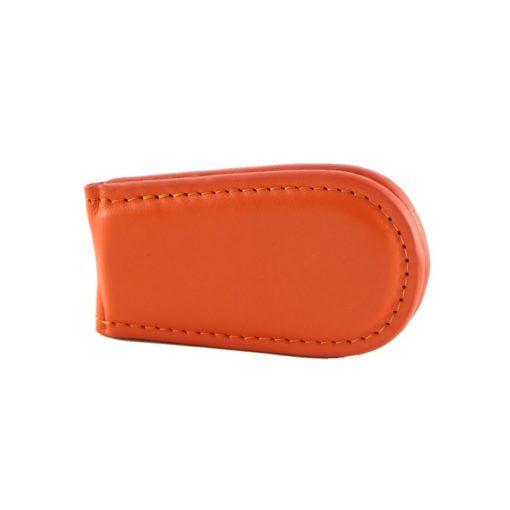 Fermasoldi magnetico calamita pelle cuoio arancio fronte