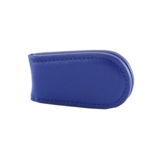 Fermasoldi magnetico calamita pelle cuoio azzurro fronte