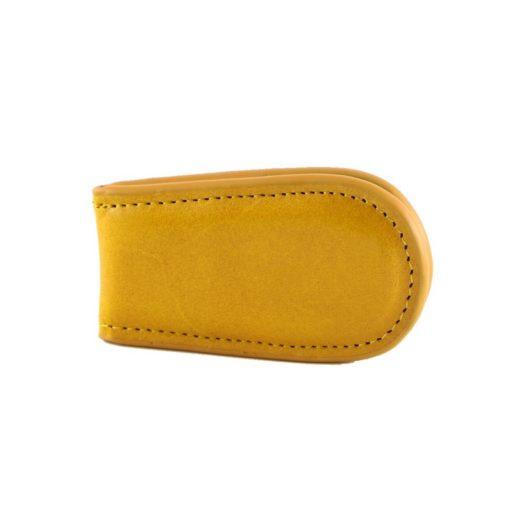 Fermasoldi magnetico calamita pelle cuoio giallo fronte