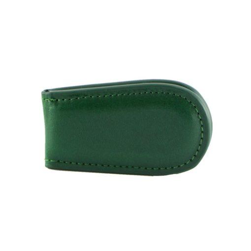 Fermasoldi magnetico calamita pelle cuoio verde fronte