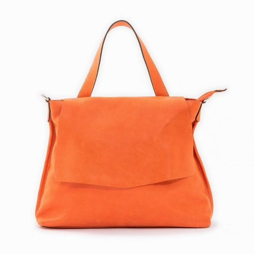 Mini Phatty Borsa Artigianale Donna Pelle Soft Arancio Made Italy Fronte