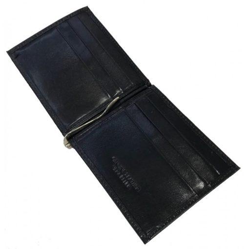 Portafoglio con fermasoldi in pelle colore nero