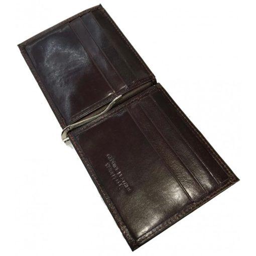 Portafoglio con fermasoldi in pelle colore marrone scuro